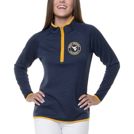 Women's Heathered Navy West Virginia Mountaineers Double Ring 1/4-Zip - Ring Mistress Jacket