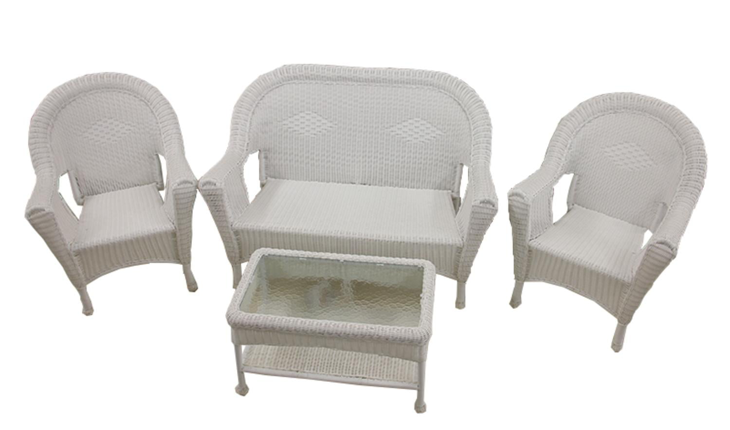 white chairs sets outdoor furniture for small spaces | 4-Piece White Resin Wicker Patio Furniture Set- 2 Chairs ...