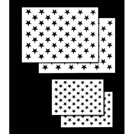 4 PACK Spray Airbrush Painting Stencils American Flag 50 US Stars Small & (Interior Painting Stencils)