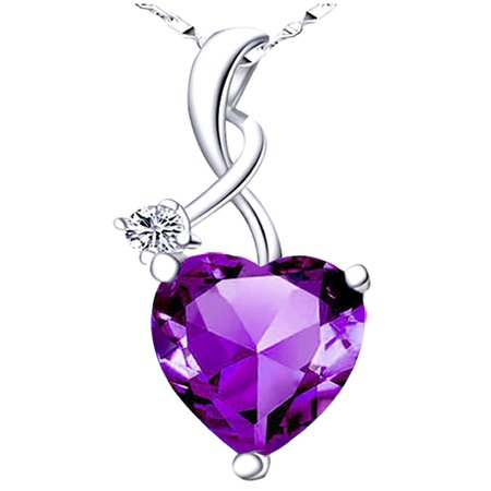 4.03 Carat TCW Heart Shaped Gemstone Created Amethyst 925 Sterling Silver Necklace Pendant with free 18 Chain