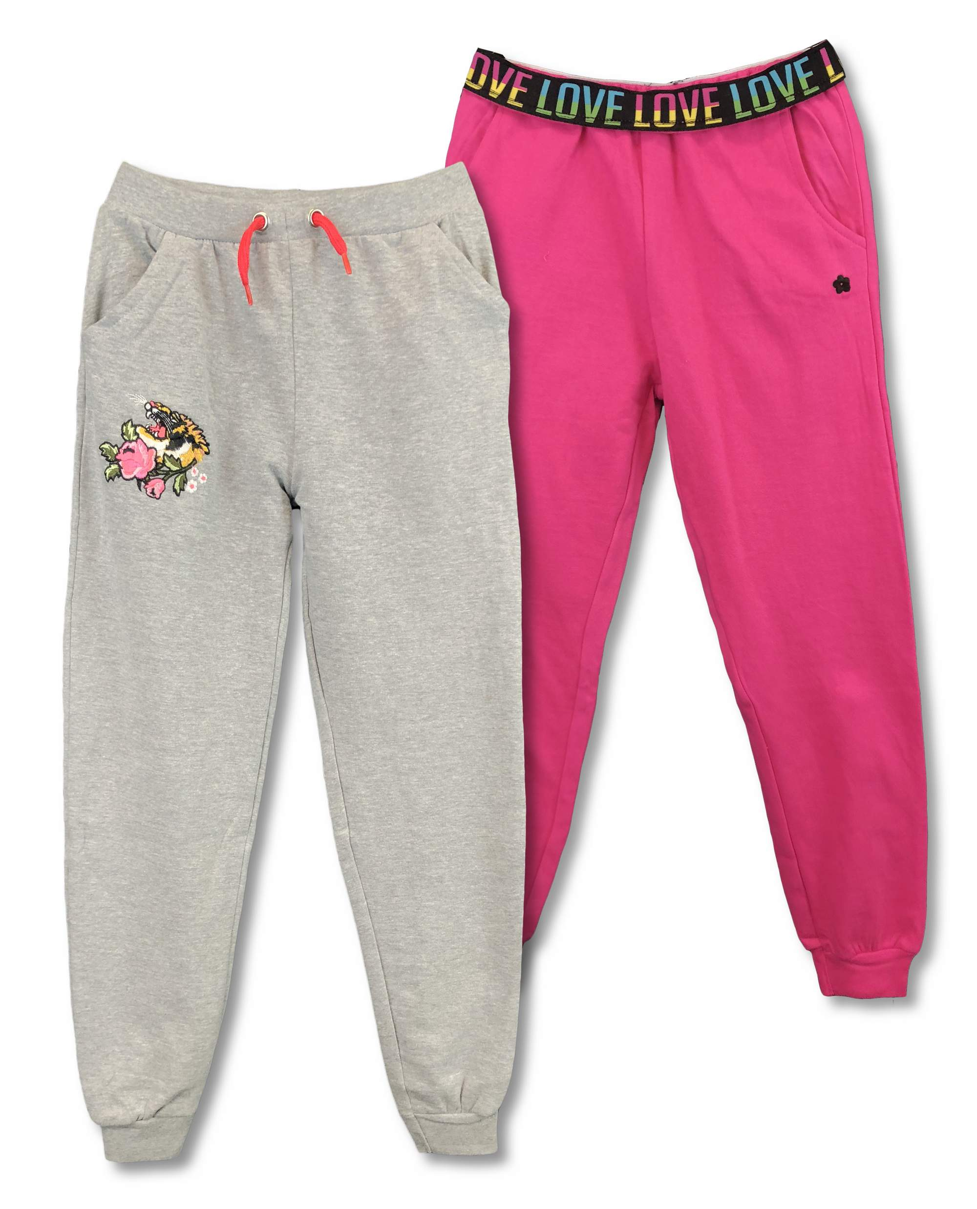 French Terry Pull-On Jogger Pants, 2-Pack (Big Girls)
