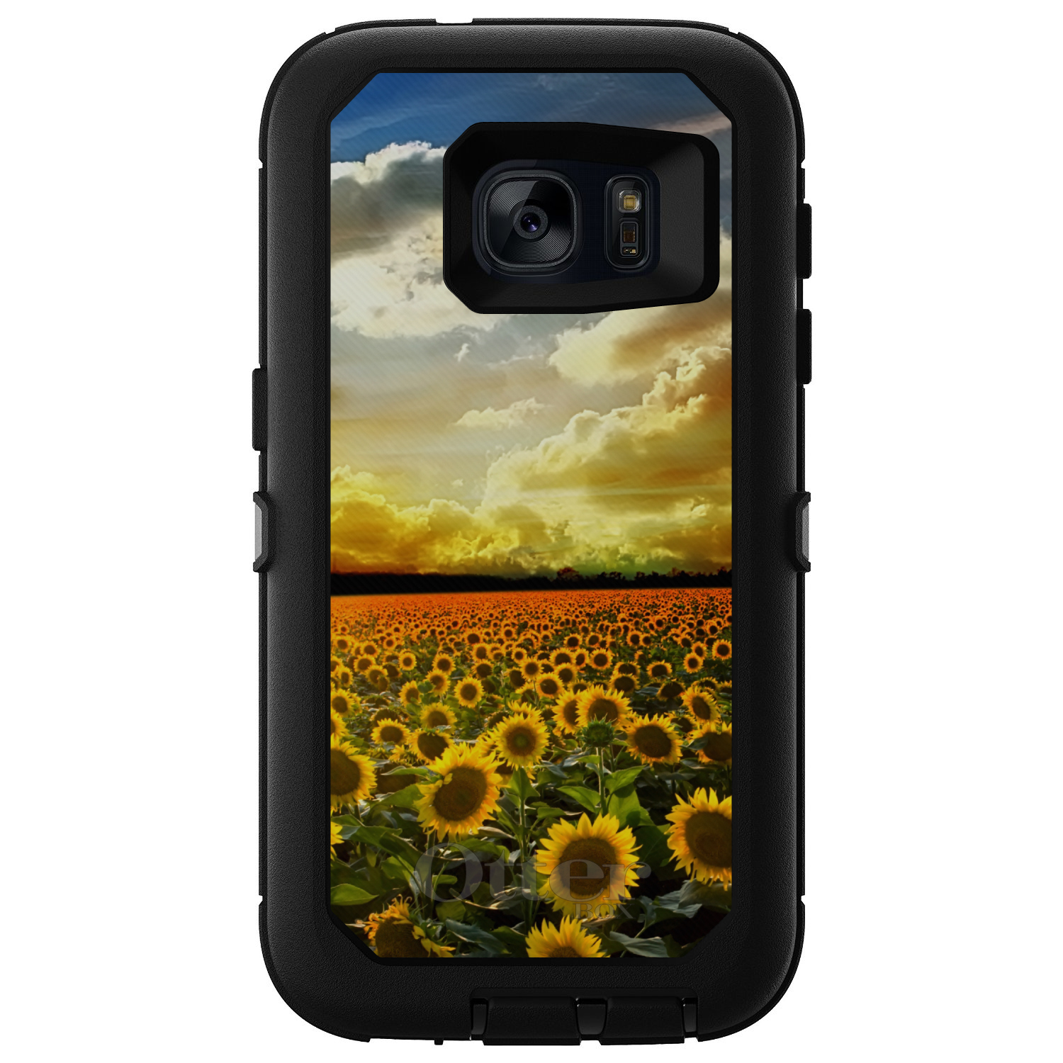 DistinctInk™ Custom Black OtterBox Defender Series Case for Samsung Galaxy S7 - Green Blue Yellow Sunflowers