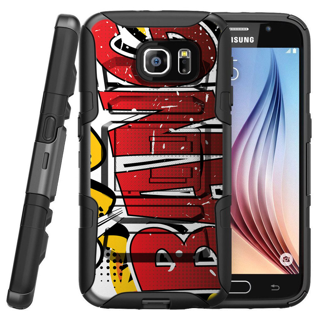 Samsung Galaxy S7 G930 Miniturtle® Clip Armor Dual Layer Case Rugged Exterior with Built in Kickstand + Holster - BANG Slogan