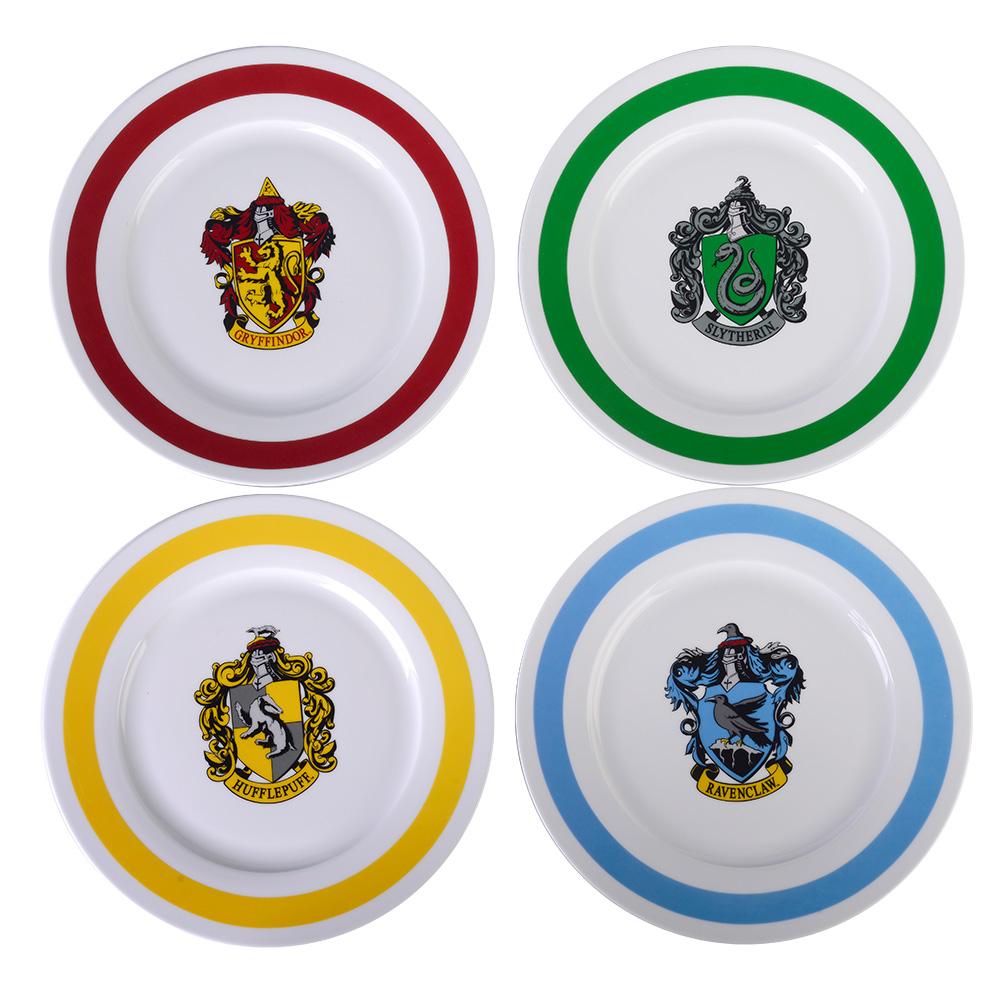 "Harry Potter Plates 10.5"" Porcelain Dinner Plates Dinnerware Includes 4 Hogwarts Houses (Gryffindor, Slytherin, Hufflepuff, Ravenclaw)"
