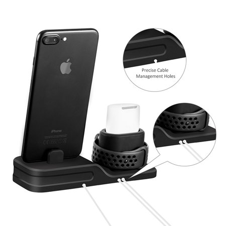 timeless design 38901 c10c9 3 in 1 Universal Silicone Holder for iWatch/iPhone/Airpods, Charging Docks  Station for Apple Watch Series 4 3 2 1 AirPods iPhone X 8 8 Plus 7 6 iPad  ...