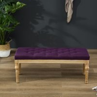 Roundhill Habit Solid Wood Blue Button Tufted Dining Bench