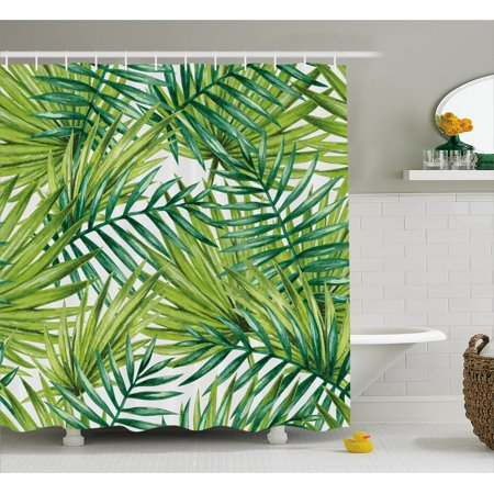 Palm Shower Curtain (Plant Shower Curtain, Watercolor Tropical Palm Leaves Colorful Illustration Natural Feelings, Fabric Bathroom Set with Hooks, 69W X 70L Inches, Fern Green Lime Green, by)