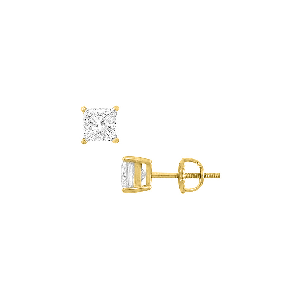 14K Yellow Gold Princess Cubic Zirconia Stud Earrings 2.00 CT. TGW. - image 3 de 3