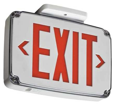 ACUITY LITHONIA WLTE W 2 R Wet Location Exit Sign,Red,2Side