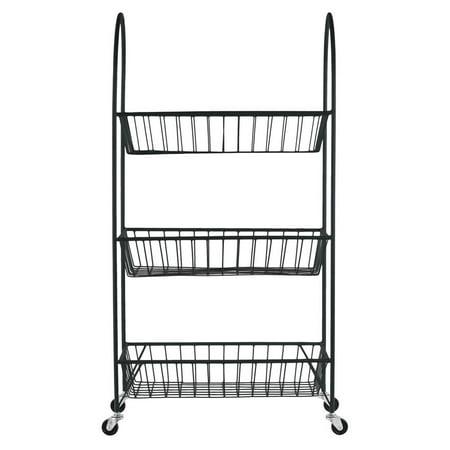 Metal Cart with 3 Wire Mesh Bins in Black - Walmart.com
