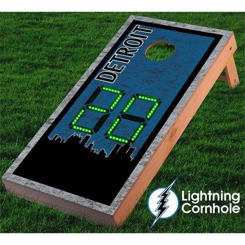 Lightning Cornhole Electronic Scoring Detroit Skyline Cornhole Board