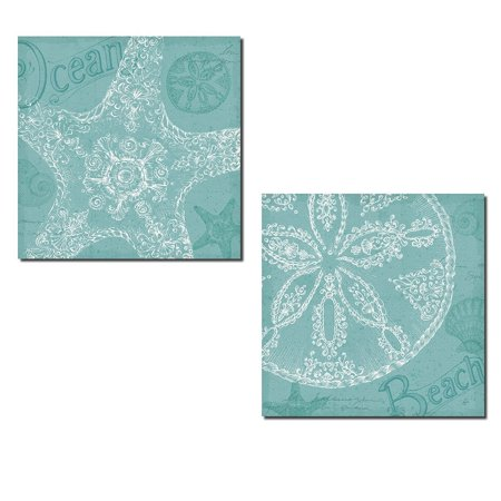 Aqua Treasure | Lovely Under the Water Sand Dollar and Starfish Set by Daphne Brissonnet; Coastal Decor; Two 12x12in Poster Prints