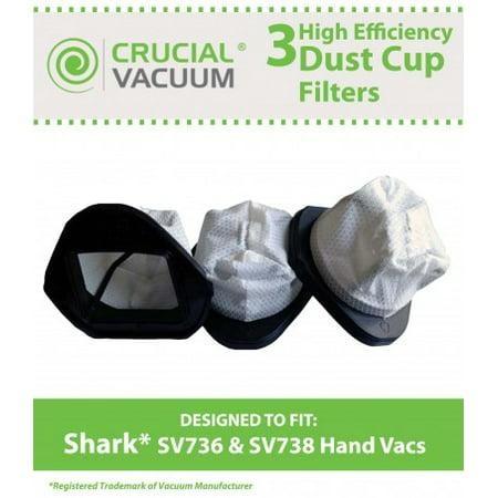 3 Shark SV736, SV748, SV738, SV780 Dust Cup Filters, Part # XSB726N, XF769