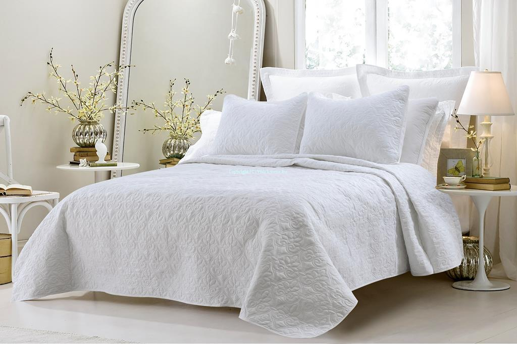 Oversized-3pc Quilted Coverlet Set- White by BedinaBag