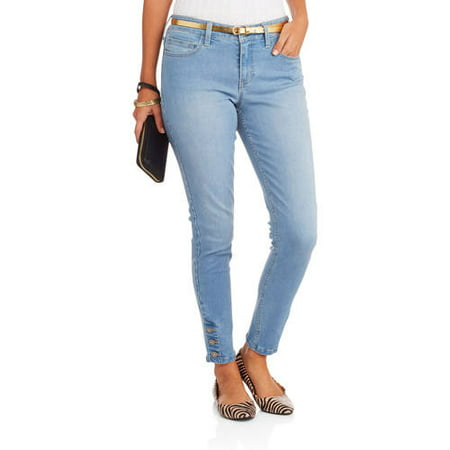 Women's Premium Stretch Skinny Jeans with Armada Button Hem Detail