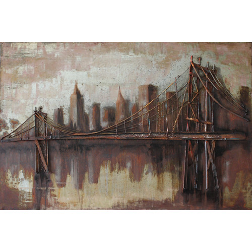 Empire Art Direct ''Bridgescape'' Mixed Media Iron Hand Painted Dimensional Wall D cor