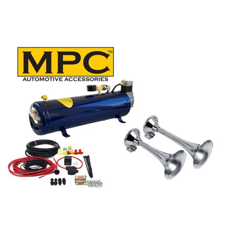 2-Trumpet Train Air Horn Kit for Trucks: Complete 12v System Includes (Complete Train Horn)