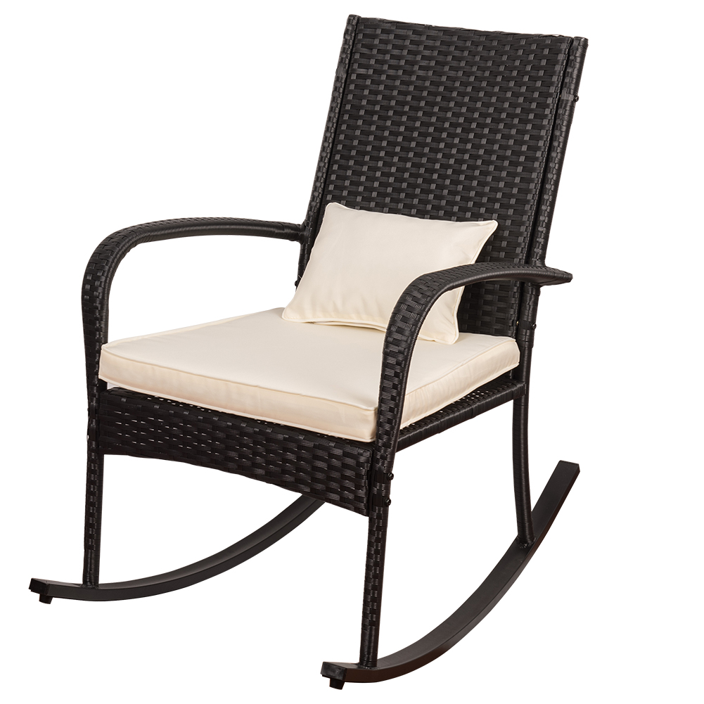 Sundale Outdoor Indoor Wicker Rocking Chair with Cushion and Pillow All- Weather Rocker Armchair Rattan Furniture for Patio, Pool, Deck, Home, Weight Capacity 220 LBS, Light Yellow
