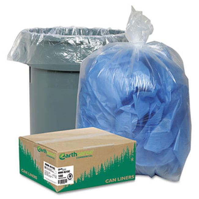 Earthsense Commercial RNW4615C Clear Recycled Can Liners  40-45 gal  1.5 mil  Clear  100 per Carton
