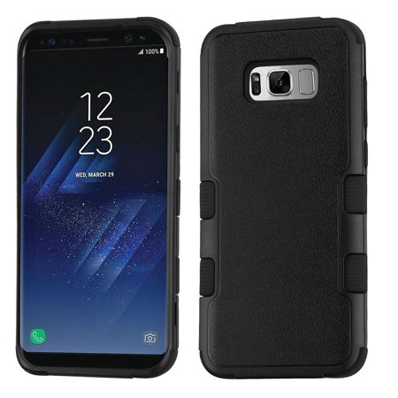 Samsung Galaxy S8 Case, by Insten TUFF [Shock Absorbing] Hybrid Hard Plastic/Silicone Cover Case For Samsung Galaxy S8 - Natural Black (+ USB Type C Cable) (Usb Natural)