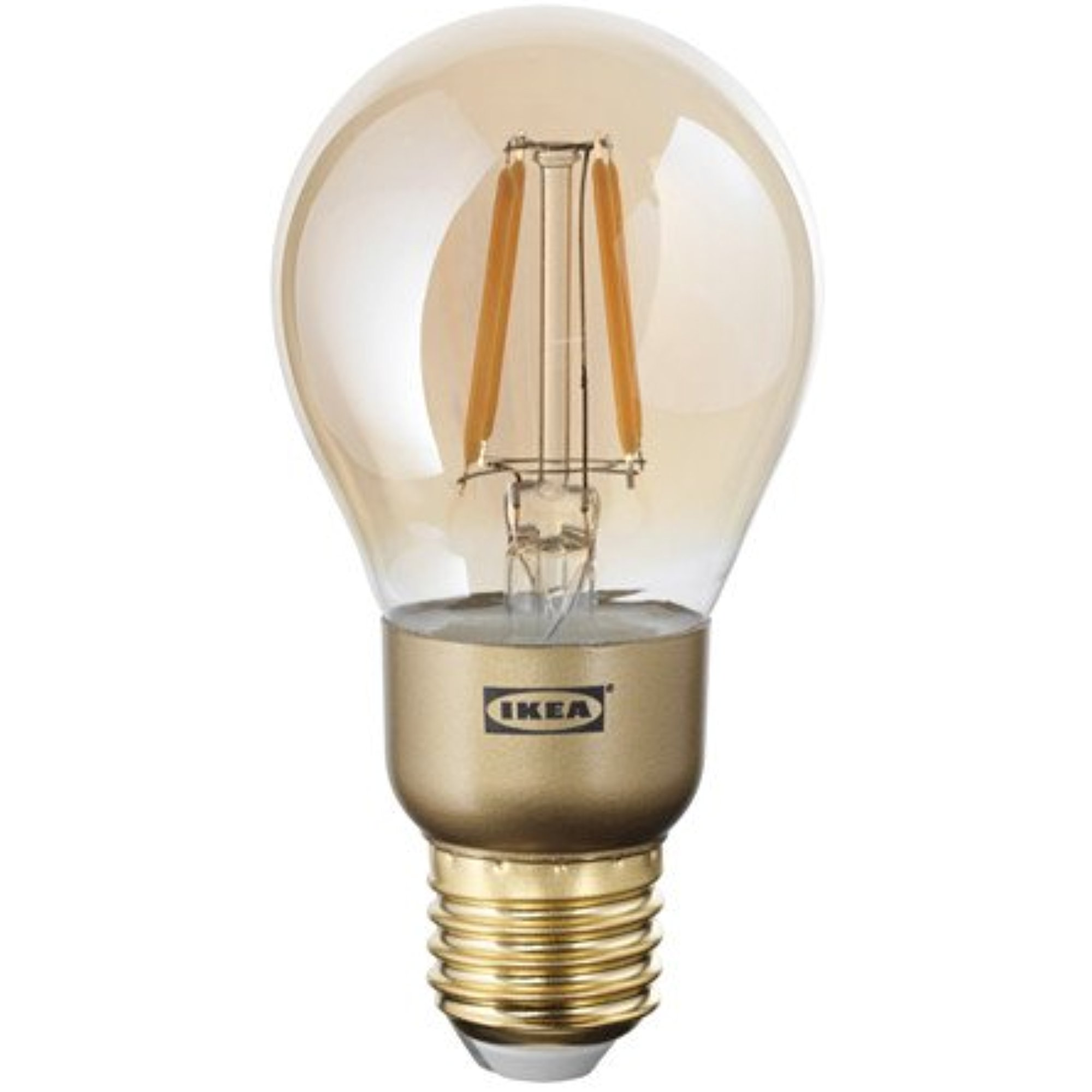 Ikea 2 pack LED bulb E26 400 lumen, dimmable, globe brown clear glass 428.14172.142