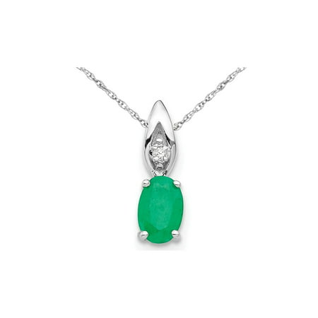 14k Emerald Pendant (1/2 Carat (ctw) Natural Emerald Pendant Necklace in 14K White Gold with Chain )