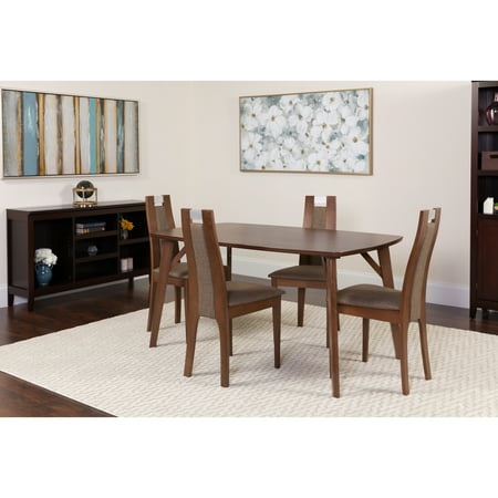 Cool Flash Furniture Stanton 5 Piece Walnut Wood Dining Table Set With Curved Slat Wood Dining Chairs Padded Seats Home Interior And Landscaping Spoatsignezvosmurscom