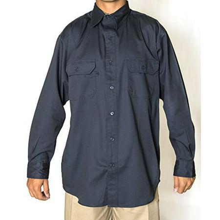 BCO Navy Men's Regular Long Sleeve Uniform Work Shirt, 65% Poly 35% Cotton Twill