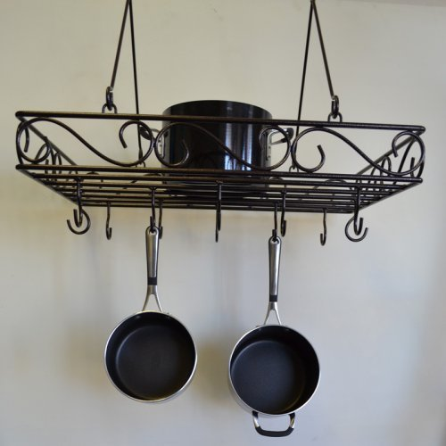 J & J Wire Scrolled Wrought Iron Pot Rack
