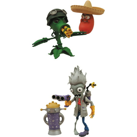 Plants vs. Zombies: Garden Warfare Scientist Zombie and Gatling Peashooter Action Figures, 2-Pack