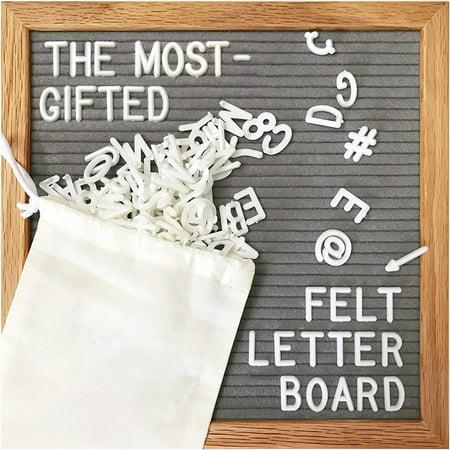 Aluminum Frame Letter - Aimeeli 10x10 Inches Gray Felt Letter Board,Changeable Letter Boards Include 340 White Plastic Letters Oak Frame