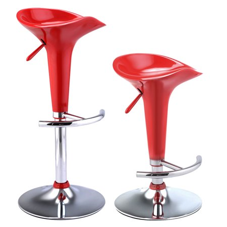 Costway Set Of 2 Modern O Style Swivel Barstools Adjule Counter Chair Bar Stools Red