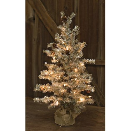 The Holiday Aisle Tinsel Silver Pine Artificial Christmas Tree with  Clear/White Lights - The Holiday Aisle Tinsel Silver Pine Artificial Christmas Tree With