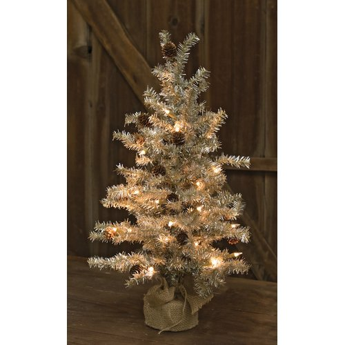 The Holiday Aisle Tinsel Silver Pine Artificial Christmas Tree with Clear/White Lights