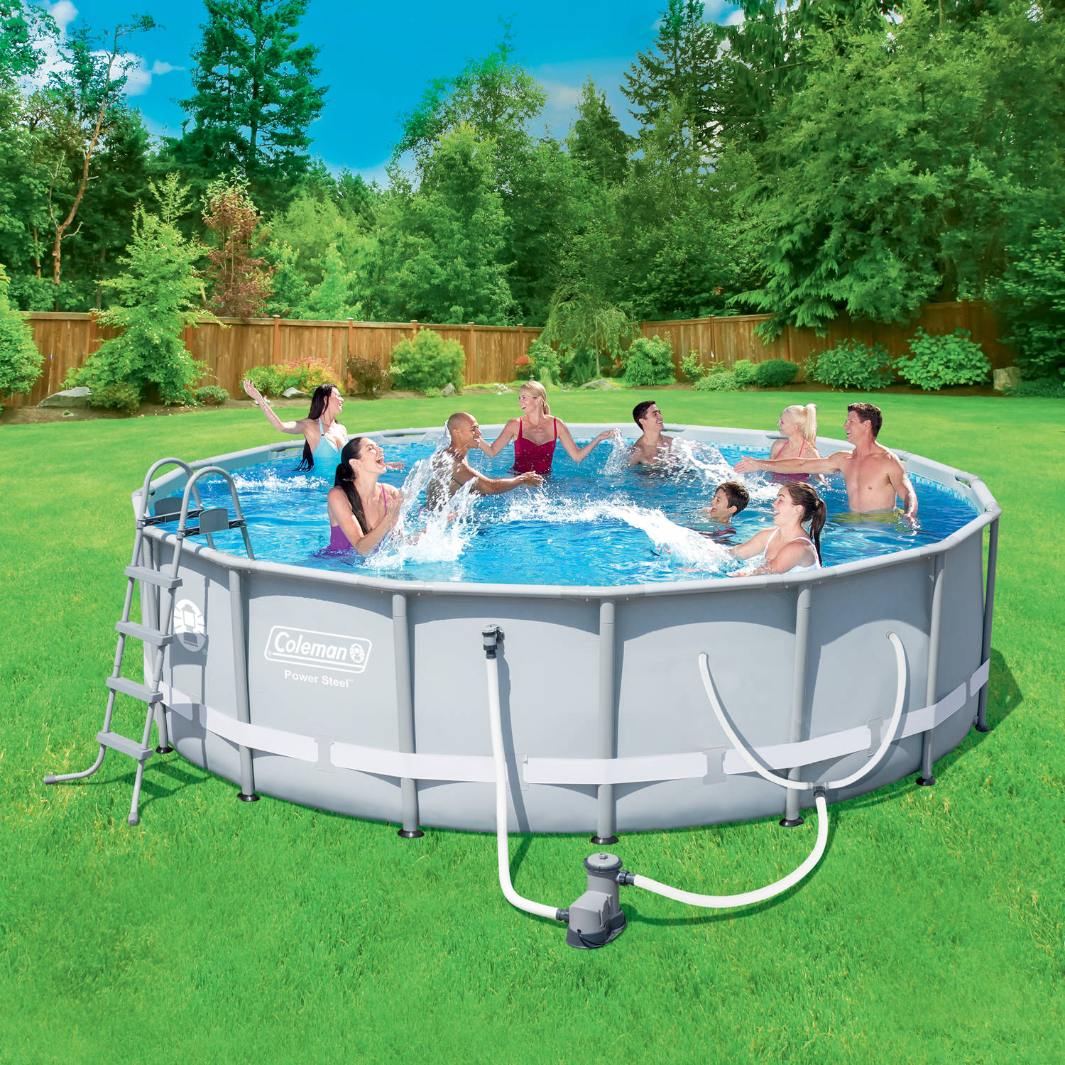 "Coleman Power Steel 16' x 48"" Frame Swimming Pool Set with Filter Pump, Ladder, Cover and Maintenance Kit"