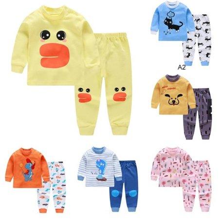 Children's Underwear Set Cotton Clothing Round Neck Shoulder Buckle Pajamas - image 4 of 5