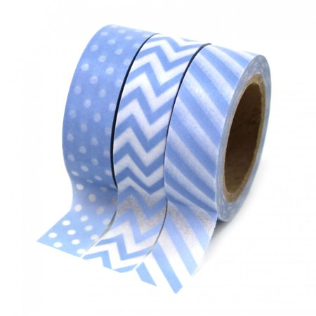 Blue Washi Tape (Dress My Cupcake Party Collection Washi Paper Tape, Baby Blue, Set of)