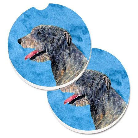 Carolines Treasures SS4782-PKCARC Pink Irish Wolfhound Set of 2 Cup Holder Car Coaster - image 1 of 1