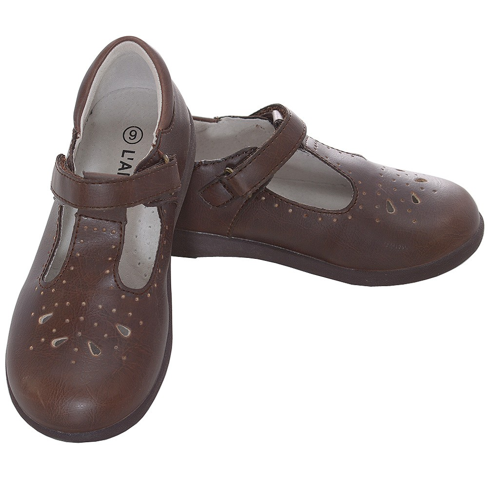 L' Amour Brown Punch Detail Mary Jane Dress Shoes Toddler Girls 6-10