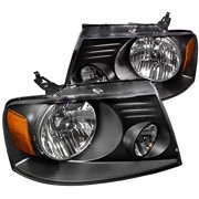 OE Replacement Headlights Head Lamps Black Housing Clear Lens Made For And Compatible With 2004 - 2008 Ford F-150 F150 Lincoln Mark LT 04 05 06 07 08