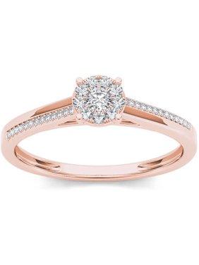 1/6 Carat T.W. Diamond 10kt Rose Gold Cluster Engagement Ring