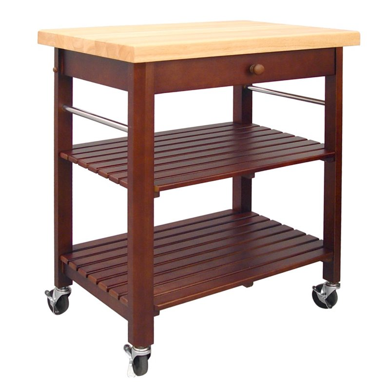 Catskill Crafts Roll About Kitchen Cart in Cherry Stain