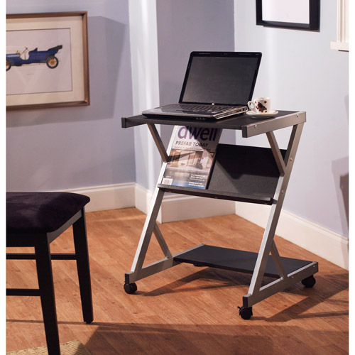 Mobile Computer Cart with Shelf, Black