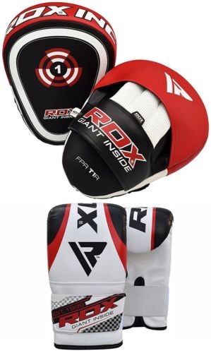 RDX Curved Focus Pads Mitts With Boxing Gloves Hooks Jab Punching Bag Kick MMA by RDX