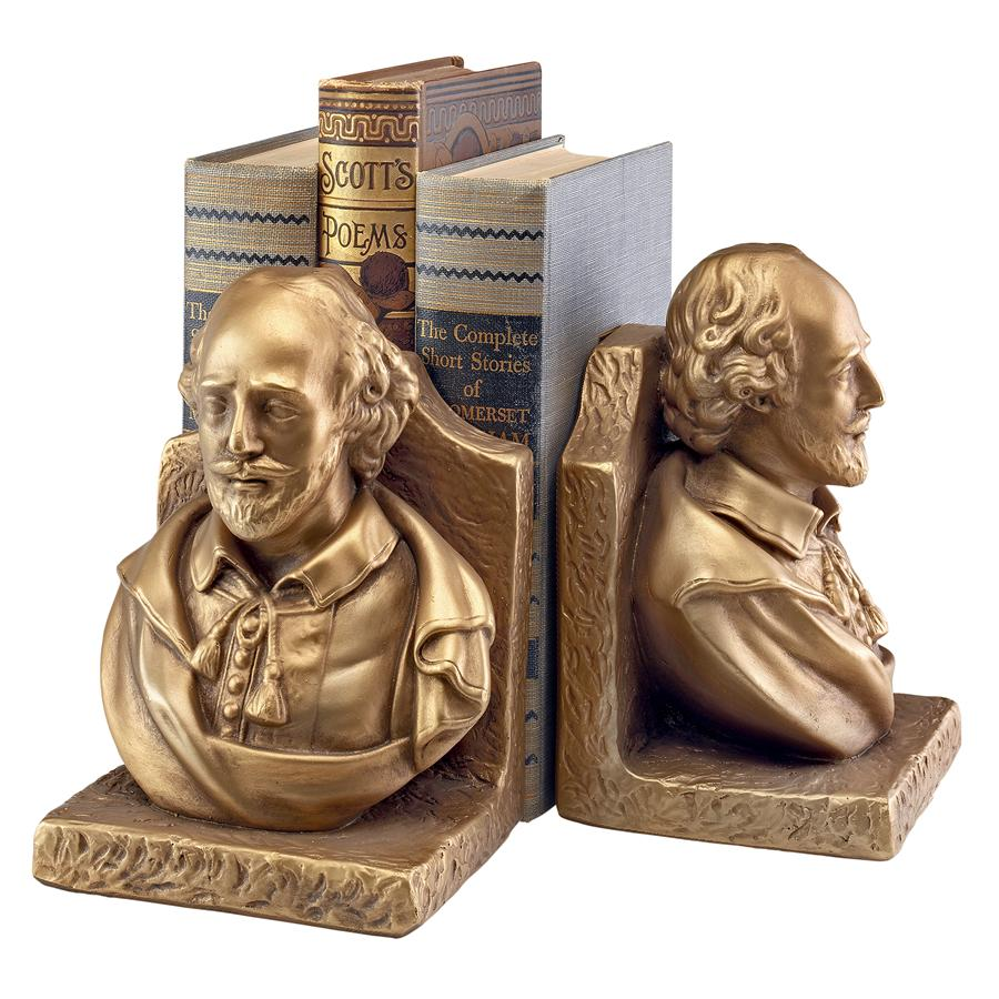 William Shakespeare, the Bard of Avalon Sculptural Bookends