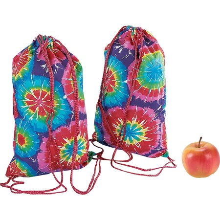 Lot of 12 Bright Tie Dye Backpacks With Drawstring - Novelty Backpacks