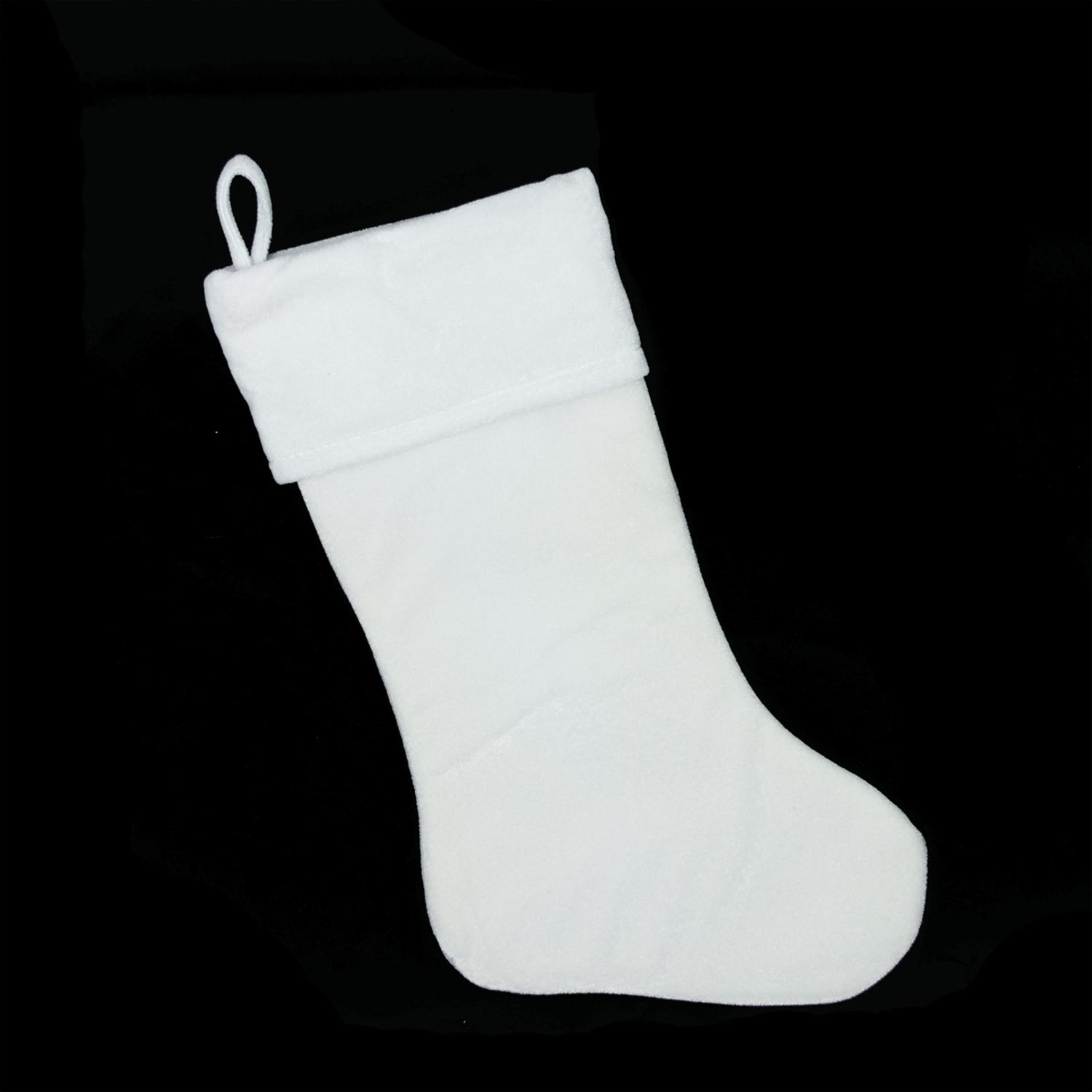 White velvet christmas stocking partner