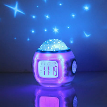 139 Projector Lamp - Children Room Sky Star Night Light Projector Lamp Alarm Clock sleeping music
