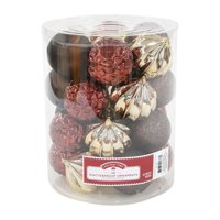 Holiday Time Shatterproof Ornaments, Brown, Copper and Gold, 26 Count