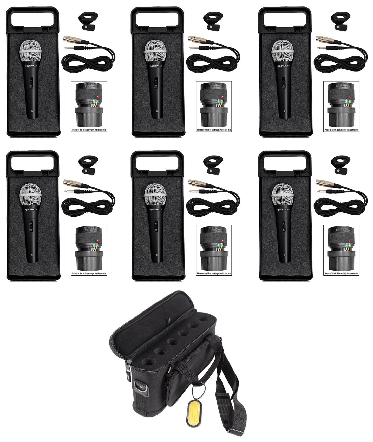 (6) Rockville RMM-XLR Dynamic Cardiod Professional Metal Microphone+6 Space Mic Bag by ROCKVILLE
